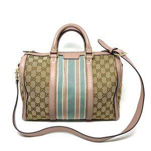 100% Auth Gucci Vintage Canvas Boston Satchel Bag